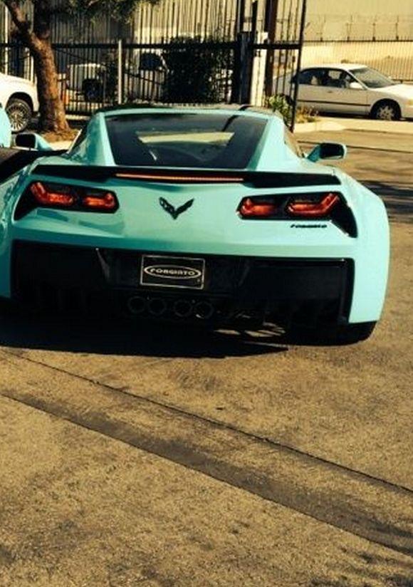 Corvette Stingray in bright turquoise making dreams come true.