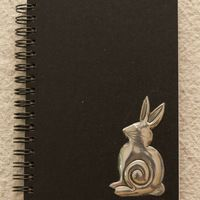 Pewter   a6  ring journal with pewter cheeky bunny