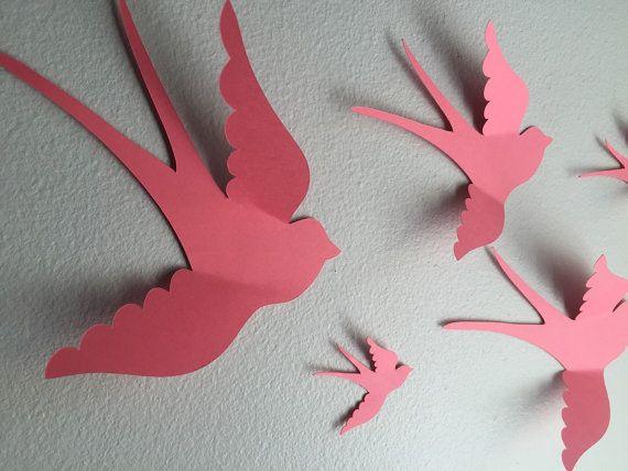 Pájaros de pared de papel coral 3D 3d arte de la por SimplyNesting