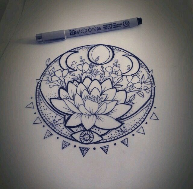 Flor de loto Mandala - Dibujo - Tattoo                                                                                                                                                      Más