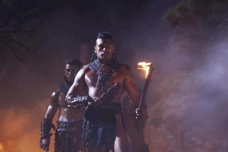 Māori warriors from The Dead Lands movie.  Te Kohe Tuhaka as Wirepa, followed behind by Xavier Horan as Rangi. #DeadLandsMovie #Hautoa  http://www.pinterest.com/bradwalker/