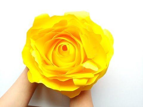 """Мастер-класс """"бумажный цветок"""". Как сделать большую эффектную розу из цветной бумаги - YouTube"""