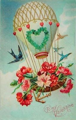 vintage card: hot air balloon