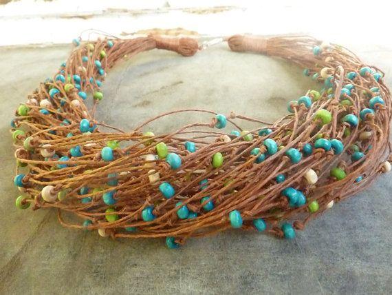 Colorful Garden - Linen Necklace