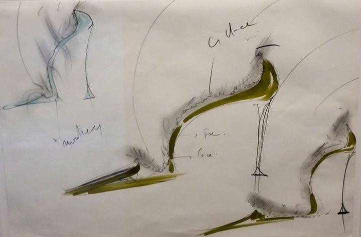 Manolo Blahanik sketches as seen at Palazzo Morando exhibit: Manolo Blahnik The art of shoes.