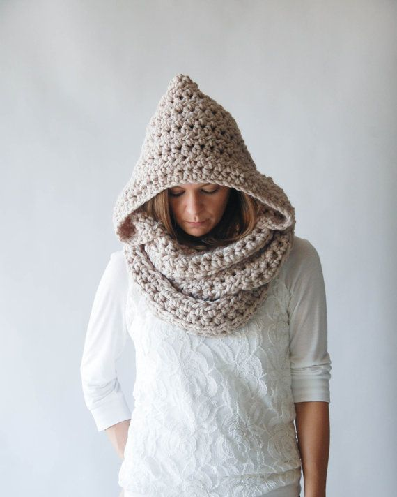 Chunky Hooded Cowl Infinity Scarf / THE MANITOBA / Linen by ozetta