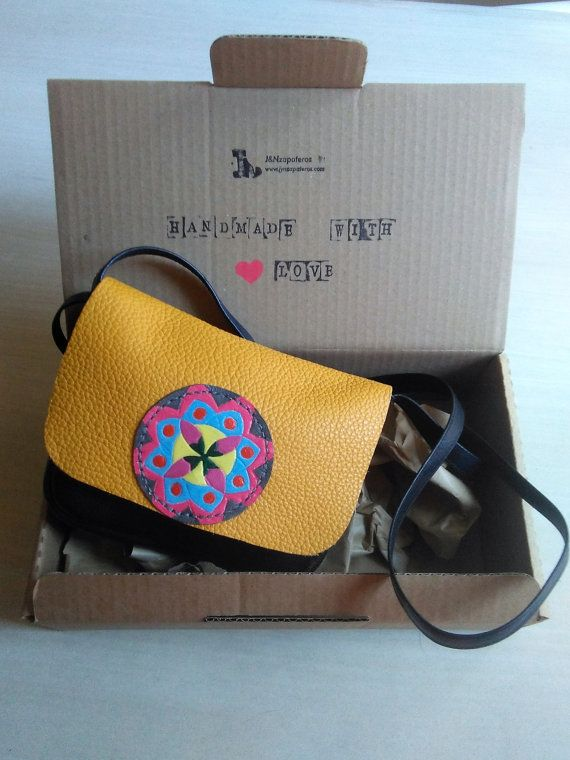 Bright Orange and Black Leather Crossbody Bag with Mandala Drawing - Shoulder Bags for Women - OOAK Women Bags