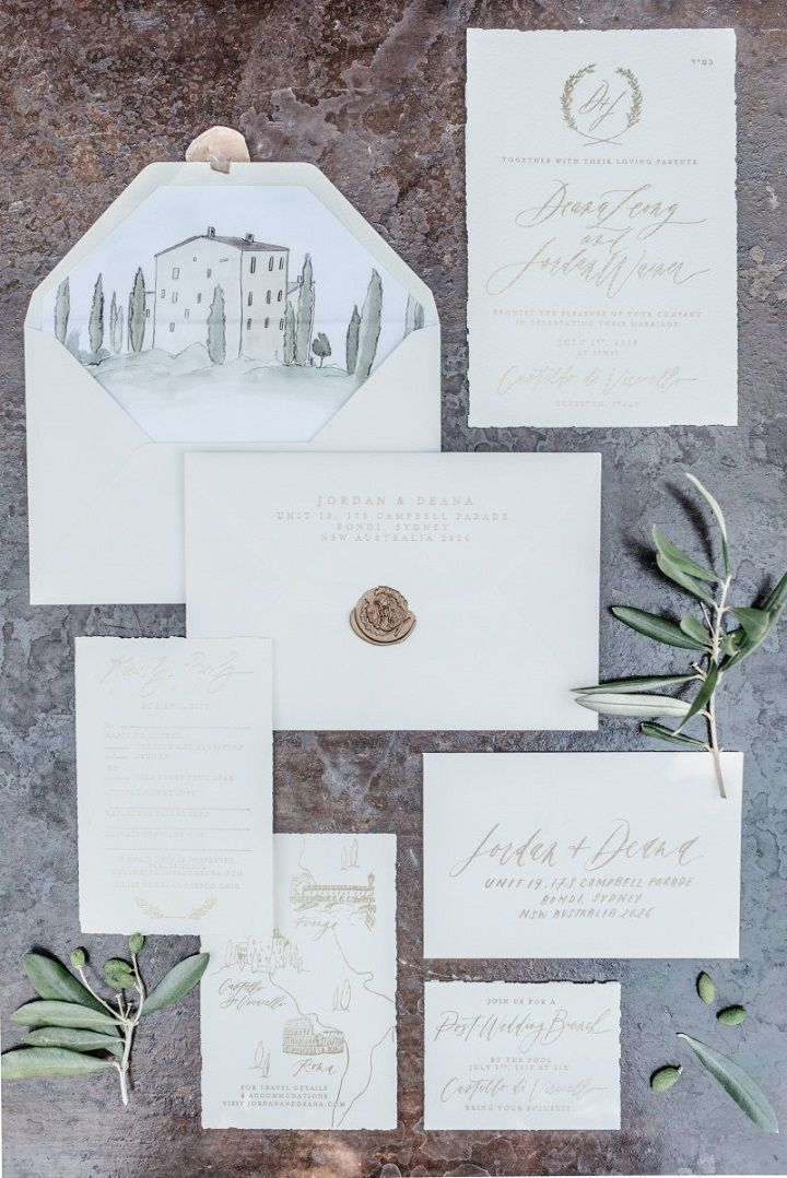 Tuscan inspired wedding invitation | Tuscan wedding theme | fabmood.com #weddinginvites #tuscanywedding #wedding