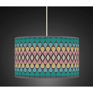 30cm Peacock Green Teardrop Retro Handmade Geometric Giclee Style Printed Fabric Lamp Drum Lampshade or Ceiling Pendant Light Shade 490