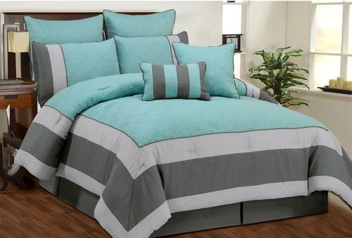 Aspen Aqua Blue, Smoke, Gray Quilted Comforter Bed In A Bag Set - Queen