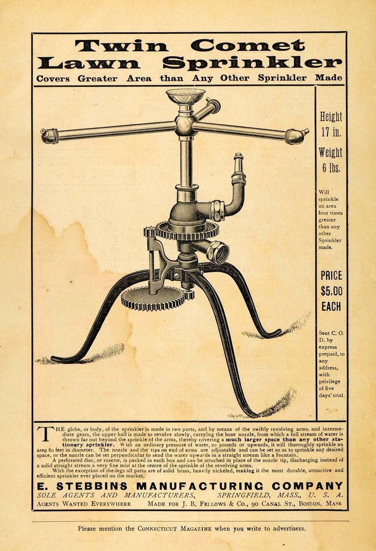 1899 Ad Twin Comet Lawn Stationary Sprinkler Hose Watering Device E St - Period Paper