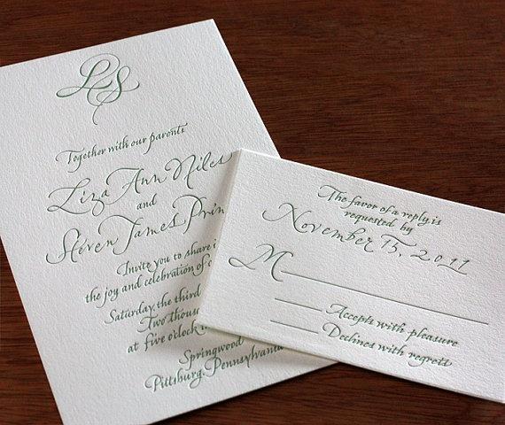 Liza Letterpress Wedding Invitation Set  1 color by ajalon on Etsy, $559.00