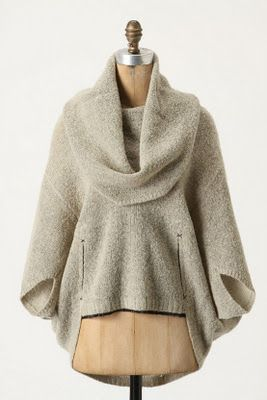 I want to curl up in this today:) oatmeal sweater cape