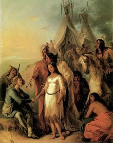 The Trapper's Bride by Alfred Jacob Miller - 1837.  In the 18th and 19th centuries, many British and French-Canadian fur traders married First Nations and Inuit women, mainly First Nations Cree, Ojibwa, or Saulteaux. The majority of these fur traders were Scottish, French and Catholic. Therefore, their children, the Métis, were exposed to both the Catholic and indigenous belief systems, thus creating a new distinct aboriginal people in North America.