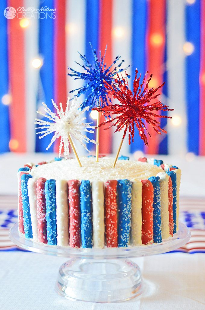 Amazing 4th of July Cake with Fireworks and Red White and Blue Sparkle Pretzels! So fun!!