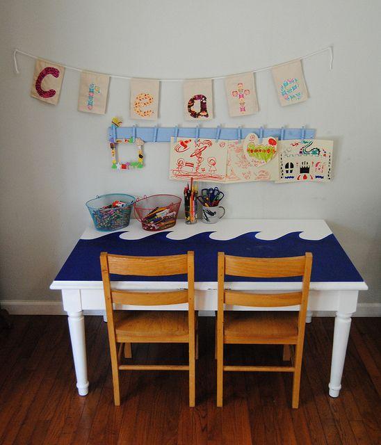 kids art corner • cute painted table