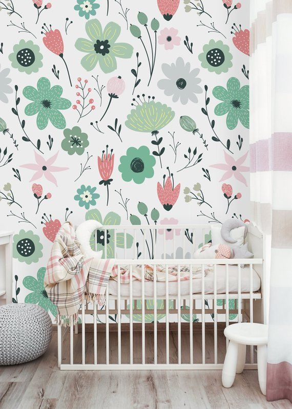 Removable Wallpaper Self Adhesive Wallpaper Spring Field Etsy Removable Wallpaper Nursery Wallpaper Mural Wallpaper