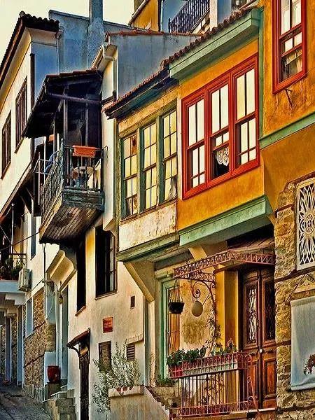 Colorful houses in Kavala, Macedonia Greece