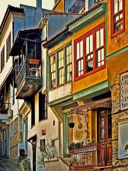 Colorful houses in Kavala, Macedonia Greece