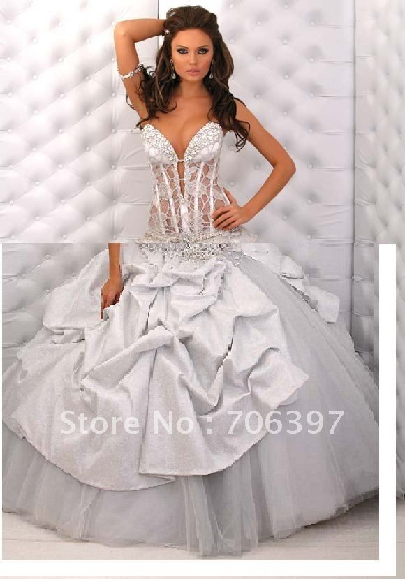 Long Ballgown Wedding Dress. Transparent Corset Wedding Dress  741cc1d375e5