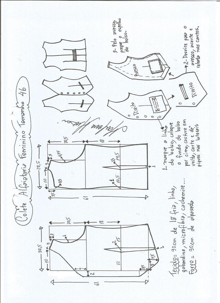 Esquema de modelagem de colete feminino alfaiataria tamanho 46.