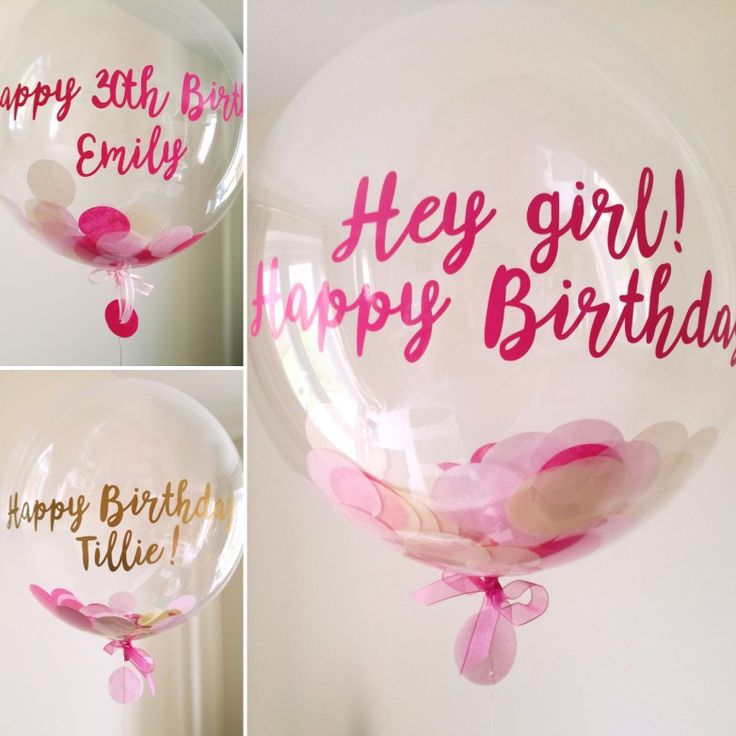 Pink confetti filled personalised balloons... Perfect for birthday's!