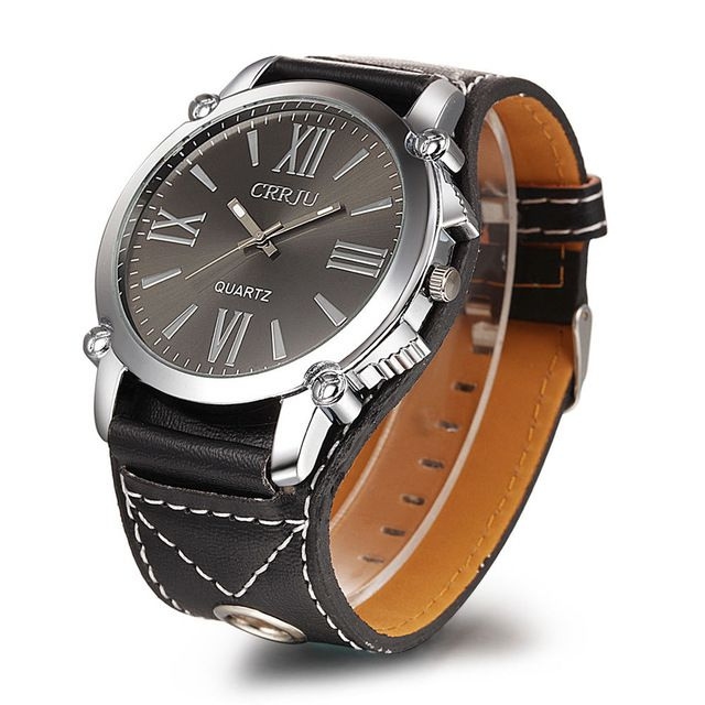 Trendy Classic CRRJU men Analog Roman Numerals dress women watches Quartz Watch with Faux Leather Strap ( Black) for unisex