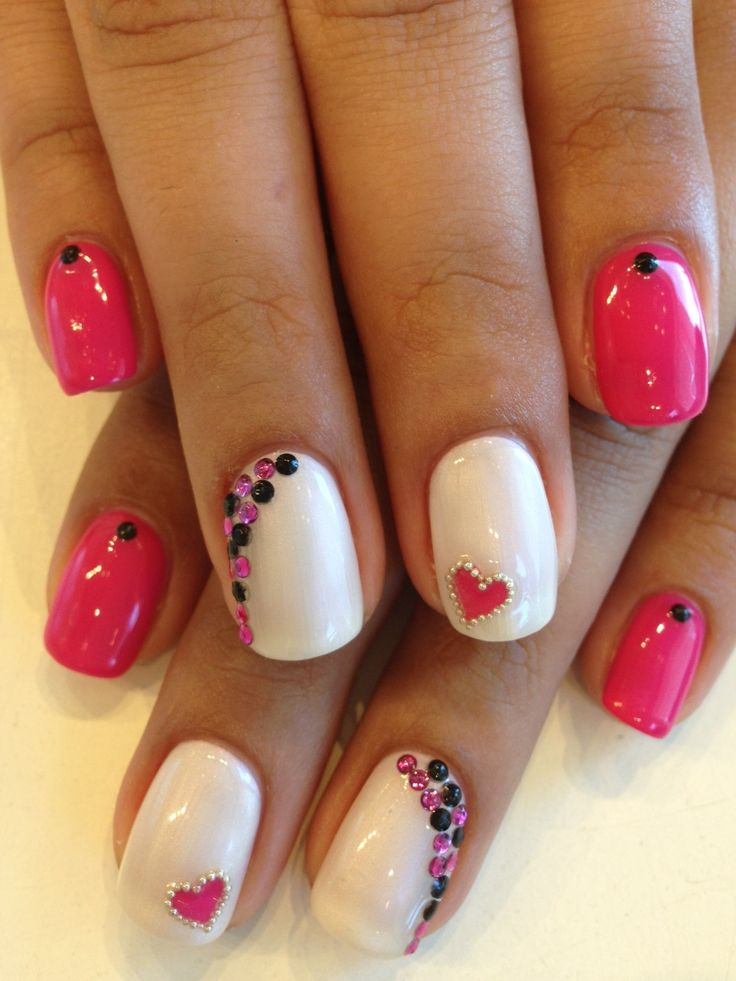 Bio Sculpture Gel colours: #89 - Bright Summer Pink & #163 - Angel White. Hearts outlined with caviar beads and accents in black & pink rhinestones