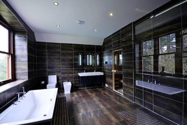 dark bathroom tiles #black