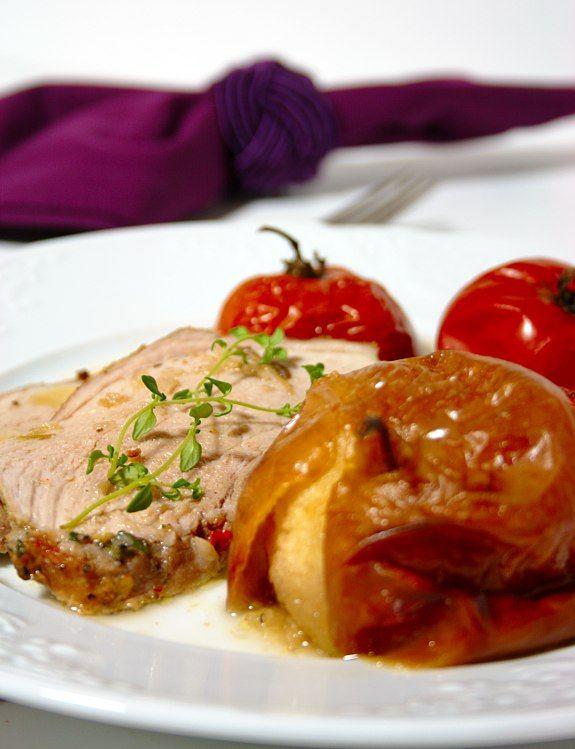 Cinco Quartos de Laranja: Carne de porco assada com maçãs, um prato cheio de Outono
