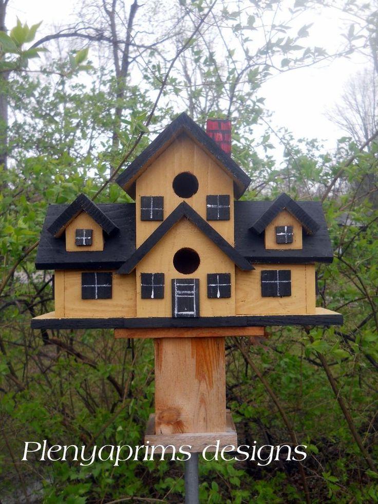 Birdhouse. Cape cod mansion. 4 nest folk art bird house. Dollhouse display