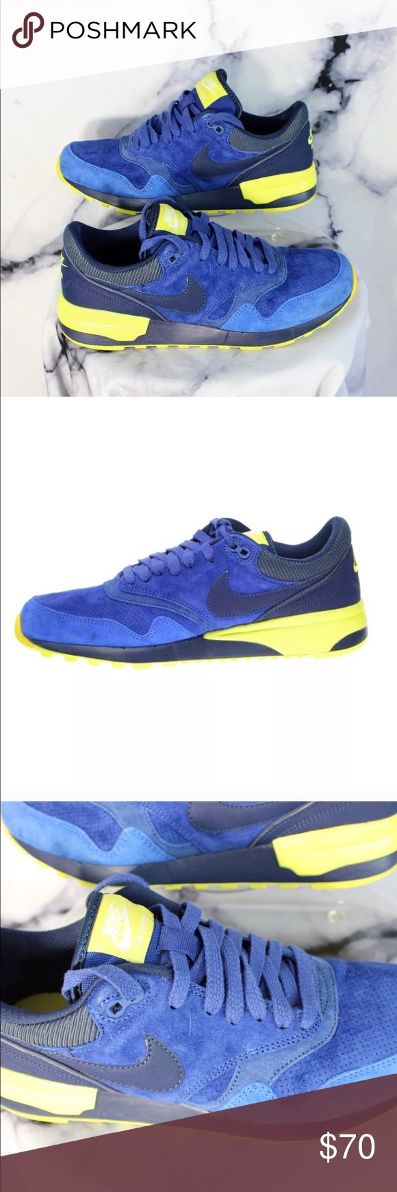 """Nike Air Odyssey Blue Suede Leather Trainers Sz8 These kicks are a vibrant blue and neon yellow/green. Sickening colorway. 8 men's. 11 women's. 41 EU. Pre owned.   If you like it, send me an offer! Too shy to offer? Add it to bundle and I'll send you my best price! Want to buy it full price? Comment """"SOLD"""" and add to bundle to receive free or discounted shipping.  Thanks for stopping! Come back soon as I add new vintage, streetwear, designer, and athlesiure regularly! Nike Shoes Sneakers"""