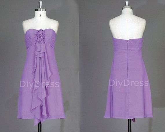 Empire Strapless Sweetheart-neck Short Bridesmaid Dresses,Light Purple Chiffon Wedding Party Dresses,Simple Prom Dresses $79.99