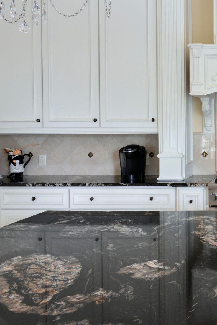 Titanium Granite Countertop White Cabinet Cream Tile ...