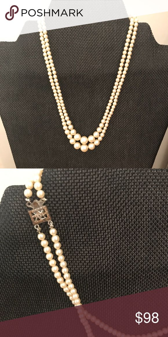 Vintage Pearl Necklace Vintage Double Strand Pearl Necklace with Silver box and hook Clasp, excellent vintage condition Vintage Jewelry Necklaces