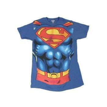 Superman Muscle Costume With Logo Adult T-shirt (XXL/Royal Blue) @ niftywarehouse.com