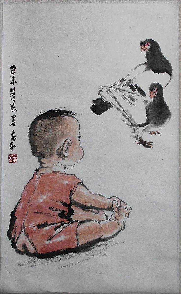 "JIANG ZHAOHE (CHINESE, 1904-1986) 蔣兆和/己未年盛暑兆和/七十有餘 BABY AND PIGEONS, 1979 Ink and watercolor on paper mounted on hanging scroll: 30 x 19 in. Left side inscribed in Chinese ""Painted in Summer 1979"", signed Provenance: Presented by Jiang Zhaohe to China Daily News in 1980, and exhibited at the Brooklyn Museum ""Fifteen Contemporary Chinese Paintings,"" September 6-October 12, 1980, no. 6; purchased for $4,000 after the exhibition by Li Gim Ying; from the collection of Li Gim Ying, Oct. 18, Lot…"