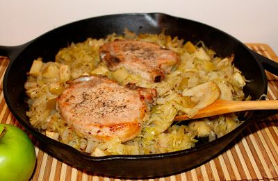 Pork chop and sauerkraut casserole with apples and potatoes