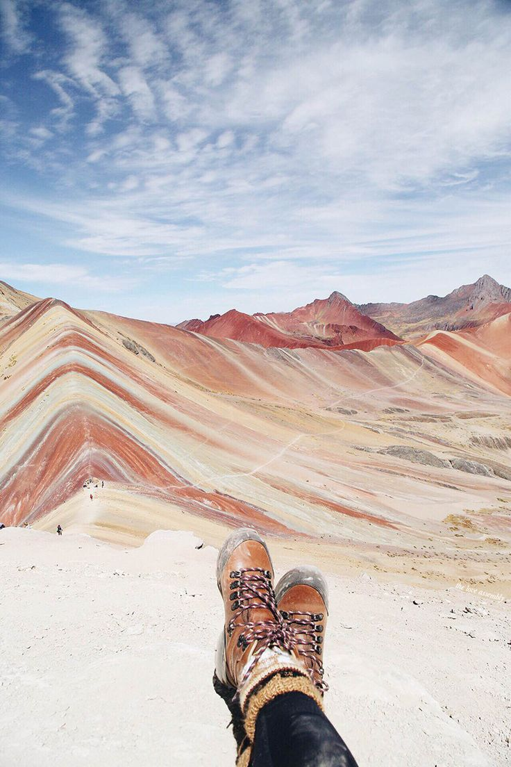 "Rainbow Mountain, Peru. Nat Geo says: ""Make a side trip from Cusco to hike Vinicunca, known as Rainbow Mountain, with a natural color palette hard to find anywhere else on Earth."""