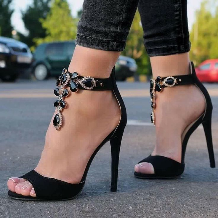 Shoespie Black Gemstones Sandals More Clothing, Shoes & Jewelry - Women - women's accessories - http://amzn.to/2kaFjns