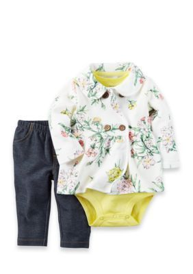 Carters  3-Piece Floral Onesie Cardigan and Pants Set