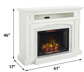 Drew Infrared Electric Fireplace TV Stand in White - CS-33WM1100-WHT
