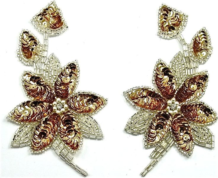"""Flower Pair with Gold Sequins and Silver Beads 2.5"""" x 5.5"""""""