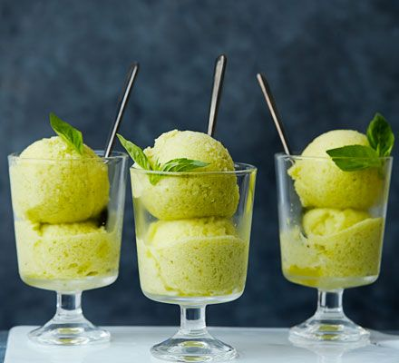 An easy blended sorbet with vibrant Thai basil and spicy ginger. Try serving with a drizzle of vodka or white rum