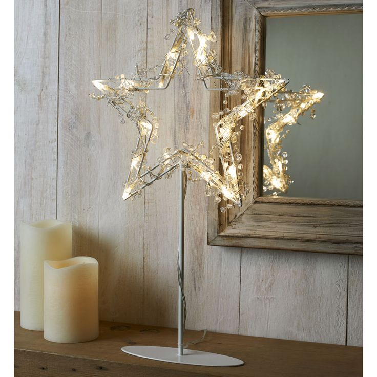 Christmas Led Star Stand Decorative 20Warm White Lights Mantelpiece Window Sill