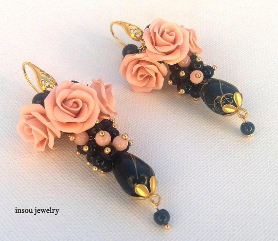 Rose Earrings Handmade Earrings Flower Earrings Vintage
