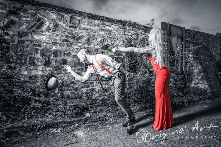 Inspired by the film Sin City, we did a gangster style shoot in Norwich with spot-colouring. This image of our female character hitting the man over the head with a bottle won a highly commended award in the Open Avant Garde section of the Societies October 2014 competition