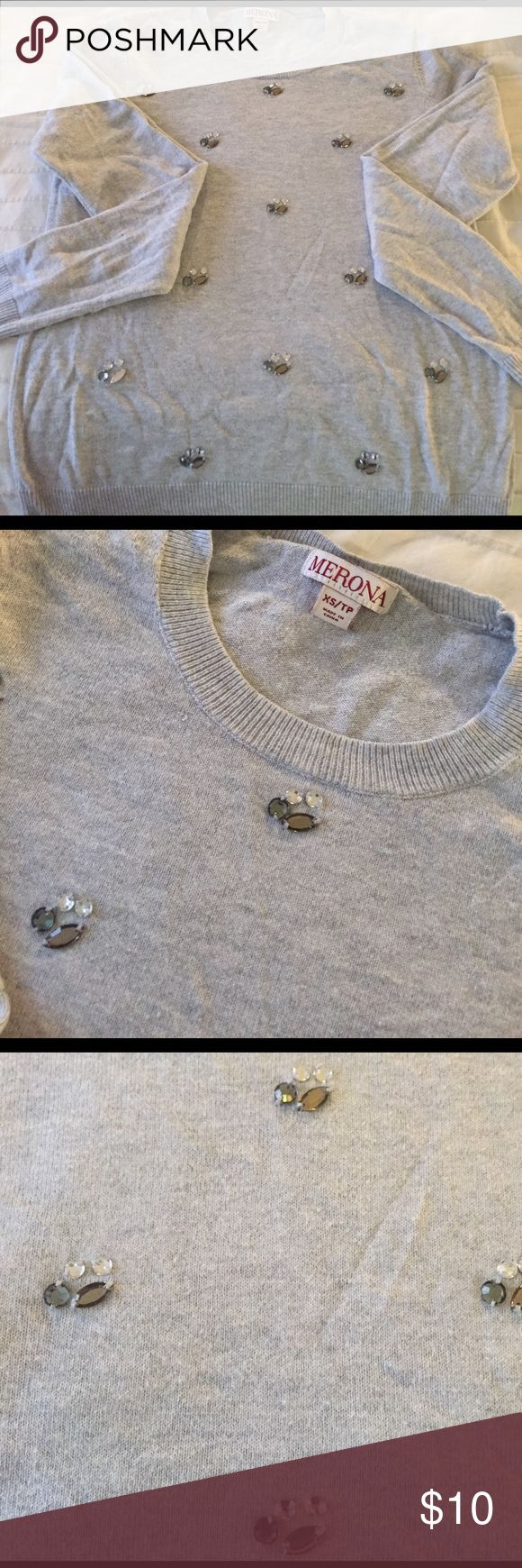 Beautiful never worn gray sweater with gems Beautiful Merona gray sweater with gems. ALL GEMS are still on sweater, none missing. Worn once. Long sleeve. Merona Sweaters