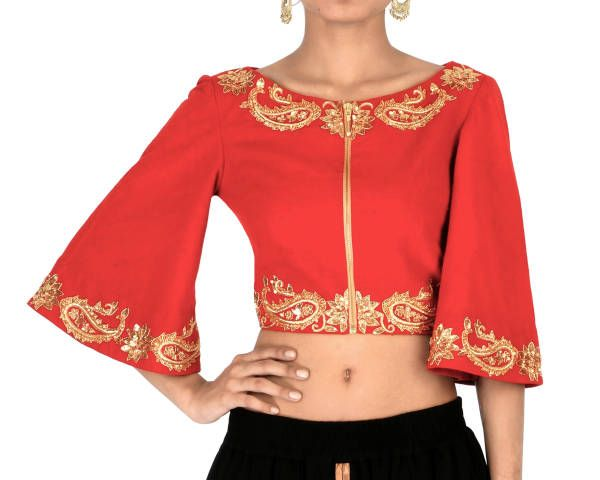 Red Bell Sleeves Embroidered Crop Top | Shop now: www.thesecretlabel.com