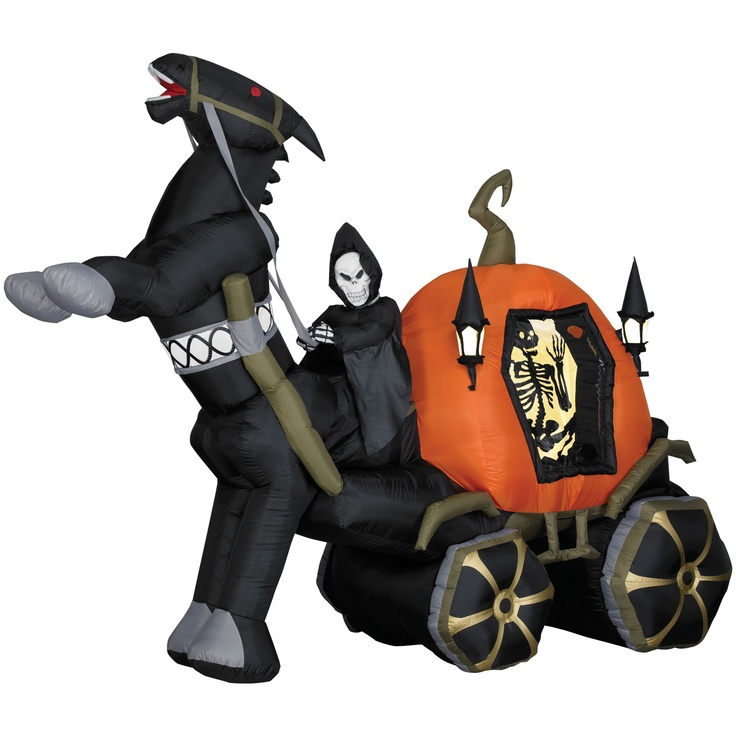 buy halloween decorations 6 tall airblown halloween inflatable reaper carriage with horse at halloween christmas shop